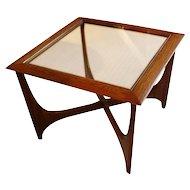 Mid-Century Modern Walnut & Elm Side Table