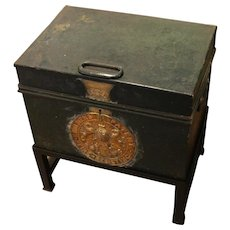 19th Century English Steel & Brass Strong Box