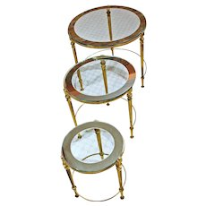 Set of 3 Brass & Glass Nesting Tables