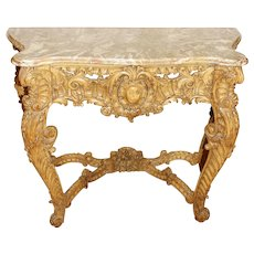 Mid 19th Century Italian Marble Top Console Table