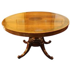 Early 19th Century English Regency Period Center Table of Rosewood & Brass Detail