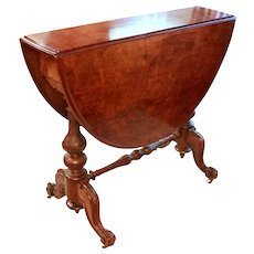 Mid 19th Century Victorian Sutherland Side Table of Burl Walnut & Walnut