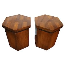 Mid Century Modern Brutalist Oak Side Cabinets by Lane - a Pair