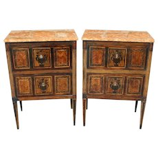 Late 19th Century European Neoclassical Marble Top Side Tables - A Pair