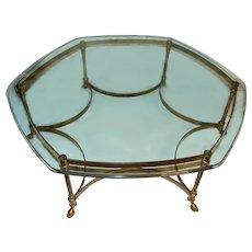 Mid Century Modern Italian Brass & Glass Hexagonal Coffee Table