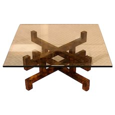 Modern Coffee Table in Faux Tortoise Painted Wood