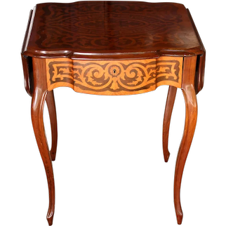 French Drop Leaf Side Table with Parquetry Designs