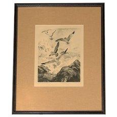 "1950's Drypoint Print ""Gulls at Monterey"" by Reinhold H. Palenske"