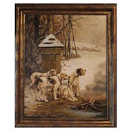 """""""Hunting Dogs Warming by the Fire"""", French oil on canvas"""