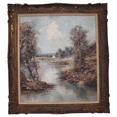 """W. Bauer """"Bayerische Landscape with Fisherman"""""""
