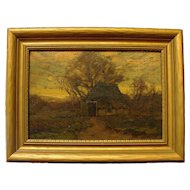 """Winter Thatched Cottage,"" Walter C. Hartson, Oil on Board"
