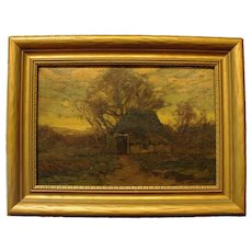 """""""Winter Thatched Cottage,"""" Walter C. Hartson, Oil on Board"""