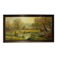 Oil Painting on Canvas of Hunting Scene
