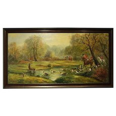 """""""Hunt Scene"""" Oil Painting by M Pol(?)"""