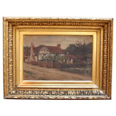 Late 19th Century Oil on Canvas, English Cottage Scene, by H.R. Blackman(?)
