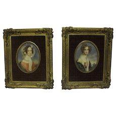 Pair of Miniature Portraits, signed Dupré