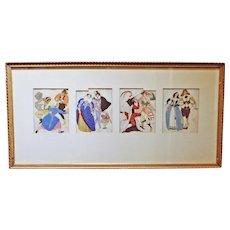 A Framed Set of 4 Ivanhoff Prints