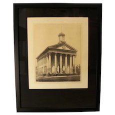 Louis Orr Etching of Davidson County Courthouse