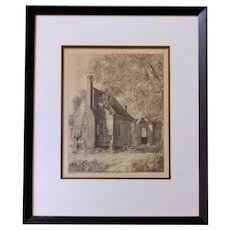"Louis Orr Etching of ""Plantation Servants' Cabin"""
