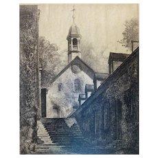 "Louis Orr Etching of ""Morivian Church, Winston Salem, NC"""