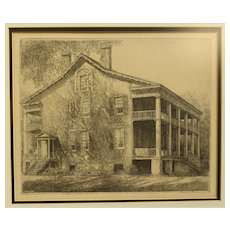 """Louis Orr Etching of """"The Leigh House"""""""