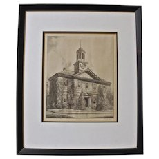 """""""The Chowan County Courthouse"""" Etching by Louis Orr"""