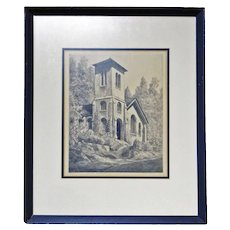 """Orr Etching of """"St. John in the Wilderness, Flat Rock, NC"""""""