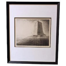 "Louis Orr Etching of ""Wright Memorial, Kitty Hawk, North Carolina"""