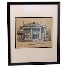 """Louis Orr Etching """"The Blades House, New Bern, North Carolina"""""""
