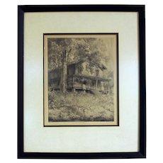 """Louis Orr Etching of """"The Rock House"""""""