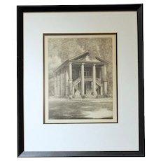 "Louis Orr Etching of ""Eumenean Literary Society Hall, Davidson College, Davidson, North Carolina"""