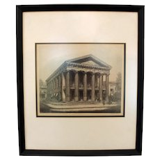 """Louis Orr Etching of """"The Old Court House, Salisbury, North Carolina"""""""