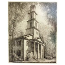 "Louis Orr Etching of ""Presbyterian Church, New Bern, North Carolina"""