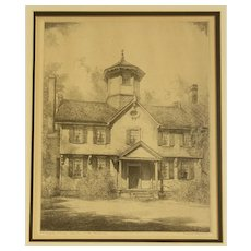 "Louis Orr Etching of ""The Cupola House, Edenton, North Carolina"""