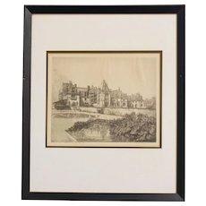 "Louis Orr Etching of ""Biltmore House, Biltmore near Ashville (sic), NC"""