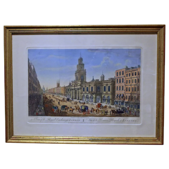 """1974 Edition Print of """"A Viw of the Royal Exchange, London"""""""