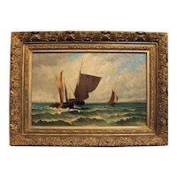 Late 19th Century Oil on Canvas, Seascape, Dutch, Unknown Artist.