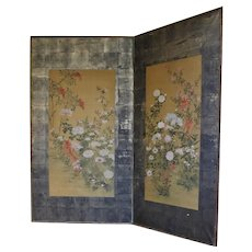 Floral Painted 2-panel Screen