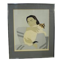 """""""Woman & White Cat"""" Print by Will Barnet"""