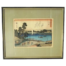 """Station 3, Kawasaki"" from 53 Stations of the Tokaido, Woodblock Print by Utagawa Hiroshige"