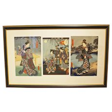 Triptych of 3 Works of Kunisada I & II, Ukiyo-e World