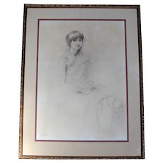 1982 Pencil & Charcoal Portrait of Woman by Howard Weingarden