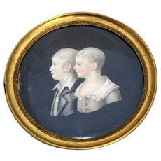 Miniature Portrait of Brother & Sister