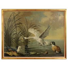 """20th Century Oil on Canvas Painting """"Swan, Duck & Shore Bird"""" by Ira Monte"""