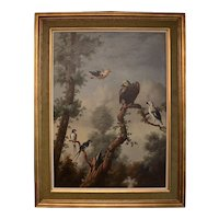 """20th Century Oil on Canvas Painting """"Parrot & Friends"""" by Ira Monte"""