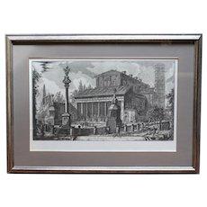 """Etching, """"Veduta della Basilica di S. Lorenzo fuor delle mura"""" by Giovanni Batista Piranesi"""