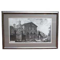"""Etching, """"Veduta della Basilica di S. Sebantiano fuori mura di Roma, su la via Appia"""" by Piranesi"""