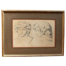 Early 19th Century Lithograph Print of The Head of Bacchus
