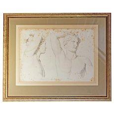 """Lithograph """"Buste d l'Appollon, qui est a Florence"""""""
