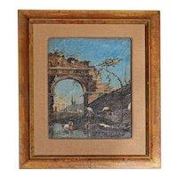 Late 18th Century Oil on Canvas of Ruins & Temple, Italian